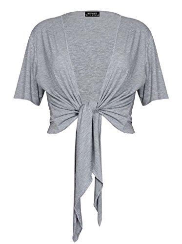 PurpleHanger Women's Plus Size Tie Up Shrug Cropped Bolero Top Light Grey 20-22