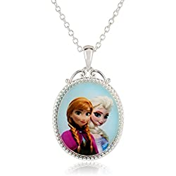 Disney Girls' Frozen Silver-Plated Anna and Elsa Pendant Necklace, 18""