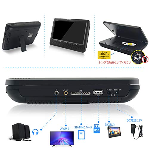 DVDプレーヤー 車載 電源不要 9.5インチ 2台セット メーカー1年保証 連続4時間再生可能 ヘッドレストモニター リージョンフリー