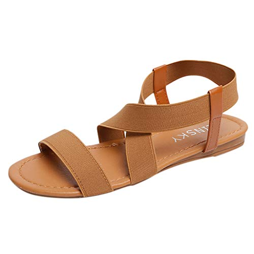 (QBQCBB Women Low Heel Anti Skidding Beach Shoes Cross Strap Sandals Peep-Toe Sandals(Brown,37))