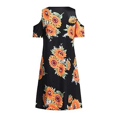 Sunhusing Women's Off Shoulder Short Sleeve Sunflower Print Dress Ladies Summer Casual Mini Dress