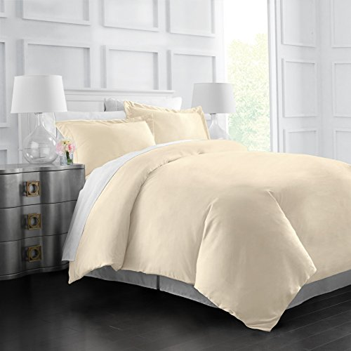 Italian Luxury Soft Brushed 1500 Series Microfiber Duvet Cover Set - Hotel Quality & Hypoallergenic with Zippered Closure & Matching Shams - Full/Queen - Cream (Full Duvet Cover Cream)