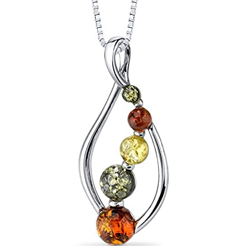Baltic Amber Open Leaf Pendant Necklace Sterling Silver Multiple Colors (Baltic Amber Olive Necklace)