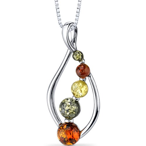 Baltic Amber Open Leaf Pendant Necklace Sterling Silver Multiple (Silver Amber Necklace)