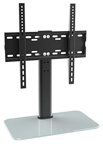RICOO LCD TV Ständer Fernsehtisch Standfuss Glas Standfuß Halterung FS304W Höhenverstellbar Fernsehstand LED Fernseher Stand Flachbildschirm Aufsatz Möbel Rack VESA 400x400 Tischständer Universal | inkl. Kabelführung |