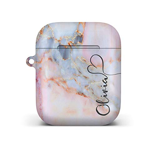 iCaseDesigner Personalised Marble Glitter Flowing Name with Heart Case for Apple AirPods – 3. Colourful Pastel Marble…