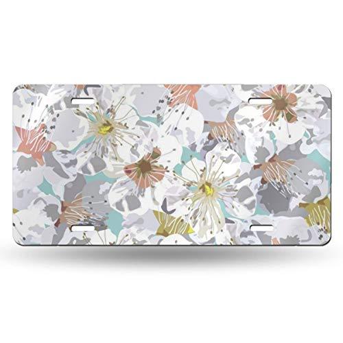 License Plate Aluminum Sakura Flowers Pattern Automotive Decor License Plate Frame Cover12 Inch X 6 Inch