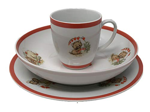 - Bohemian Czech Made Porcelain Dinnerware 3 Piece Children's Cereal Set - Plate, Bowl, Mug