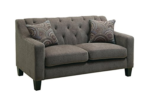 Furniture of America Stansfield Contemporary Love Seat, Mocha