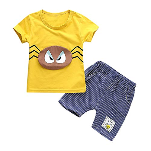 2Piece Toddler Kids Baby Boy Outfits Set,Cartoon Funny Spider Print Short Sleeve T-Shirt Stripe Shorts Summer Clothes Suit Yellow