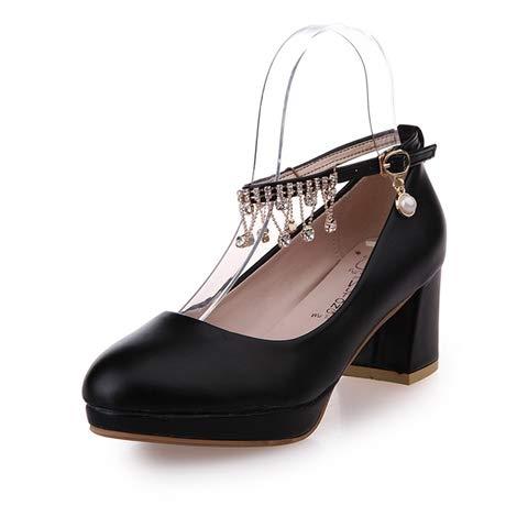AGECC Zapatos Dulces Y Poco Profundos De Tacón Alto PU Femenina Mesa Resistente Al Agua Hebillas Zapatos De Tacón Alto Y Tacones Ásperos. Black 6 cm