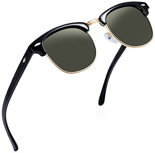 Joopin Semi Rimless Polarized Sunglasses Women Men Retro Brand Sun Glasses ()