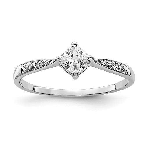(925 Sterling Silver Square Shaped Cubic Zirconia Cz Band Ring Size 8.00 Fine Jewelry Gifts For Women For)