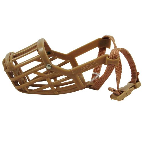 Classic Products Plastic Double Grill Basket Muzzle with Nylon Collar, Size 4, My Pet Supplies