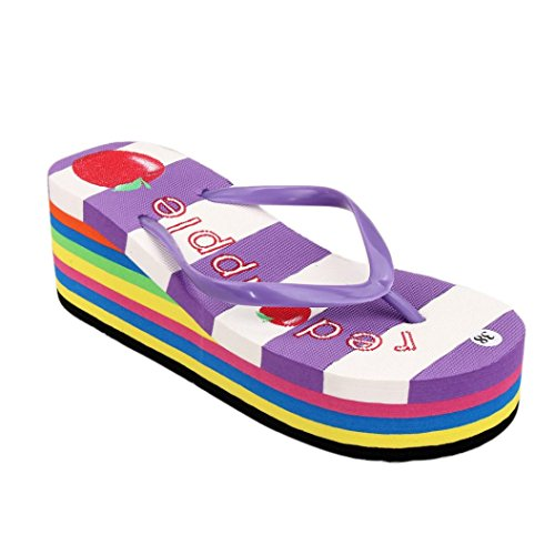 Tenworld Women's Wedge Sandals Platform High Heels Thong Flip Flops (5.5, Purple) (Deluxe Red Hair Spray)