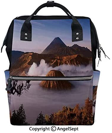 Large Anti-Water Maternity Baby Nappy Bags,Mount Bromo Volcanoes Taken in Tengger Caldera East Java Indonesia Decorative Light Caramel Blue White,15.7 inches,Multifunction Travel Back Pack