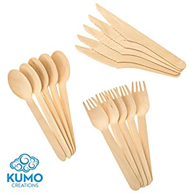 "Wooden Disposable Cutlery Combo Set – 300pc - 100 Forks, 100 Spoons, 100 Knives, 6"" Length Eco Friendly, Biodegradable, Compostable – Parties, Weddings, Gatherings – Forget Plastic, GO GREEN!"