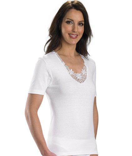 Slenderella para mujer 100% algodón de Cami de manga corta con detalle de encaje (varios tamaños)