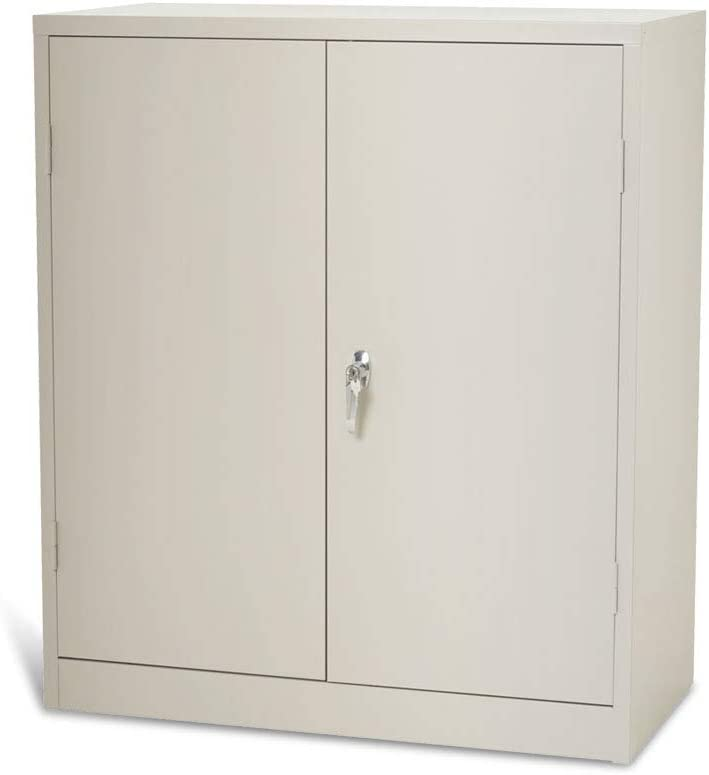 Steel Storage Cabinet Lockable Metal Storage Cabinets with 2 Adjustable Shelves Counter Height Cabinet 42×36×18, Light Gray