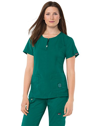KOI Lite Women's Serenity Round Zip Neck Solid Scrub Top Small - Green Lite