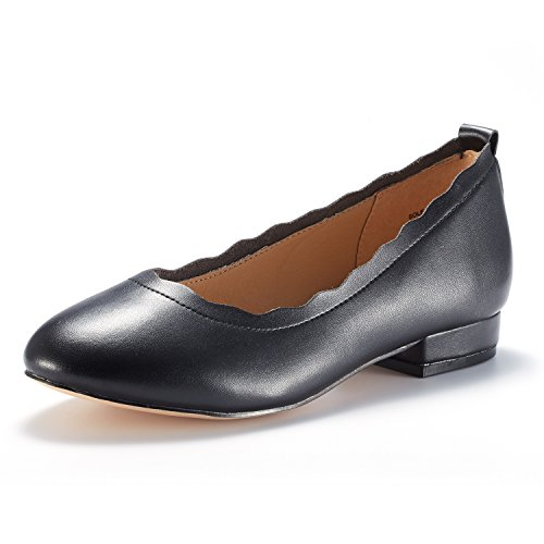DREAM PAIRS Women's Sole_ELLE Black/PU Fashion Low Stacked Slip On Flats Shoes Size 8.5 M - Heel Rubber Women Sole