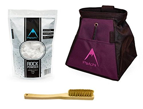 Psychi Chalk Bouldering Bucket Stand Bag Starter Pack for Rock Climbing with Loose Chalk and Boar Hair Brush ()