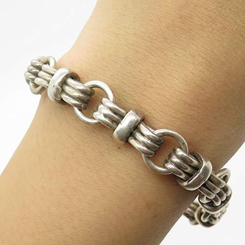 VTG Mexico 925 Sterling Silver Wide Modernist Bracelet 6 3/4