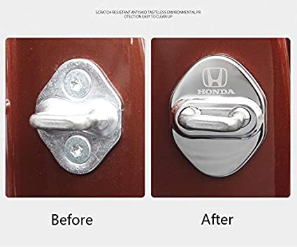 3M Adhesive Backing( Pack of 4) MAXDOOL Stainless Steel Car Door Lock Latches Cover Protector for Honda Civic Accord City FIT CR-V XR-V UR-V Odyssey Crosstour Vezel Silver