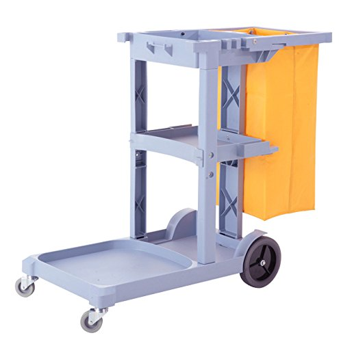 Commercial Cleaning Janitorial Cart 3 Shelf w/ 25 Gallon Vinyl Bag - Capacity Cleaning Cart