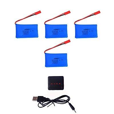 OBBEY® 4pcs 3.7V 780mAh 20C Lipo Battery with X4 Charger for Wltoys V636 V686 V686G V686K JJRC V686 Quadcopter