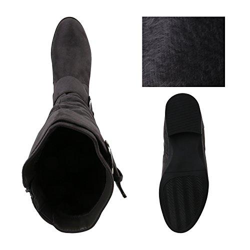 Stiefelparadies Damen Klassische Stiefel mit Blockabsatz Flandell Grau Avion