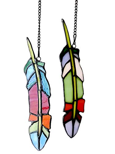 Alivagar Stained Glass Feather Window Hangings Ornament Tiffany Style Feathers, 7