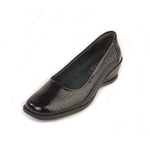 Black Non 'saskia' Super Ultra Flexible Suave Soft Shoe E Wide croc Support With Fit Sole Women's slip Lightweight fx8a8qnR