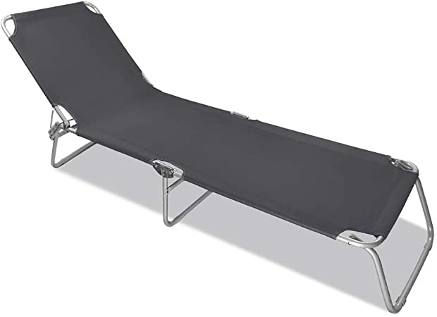Aluminium Camping Liege Liegestuhl Relaxliege Strandliege 189x59 cm MaxxGarden Sonnenliege Klappbar grau
