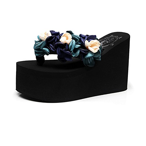 T-JULY Womens Ladies Wedge Flip Flops with Flower Sandals Platform Slide Sandals Non-Slip Summer Slippers Blue