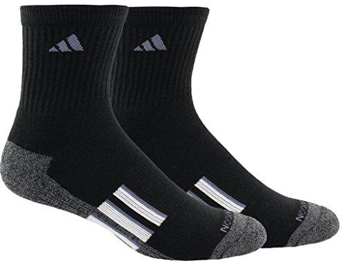 adidas Men's Climalite X II Mid-Crew Socks (2-Pack), Black/Black/Onix Marl/White/Onix, Size ()