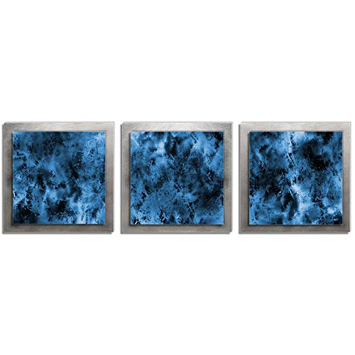 Metal Art Studio Storm Essence Multi-Panel Layered Metal Wall Sculpture, Medium, Blue/Black/Silver