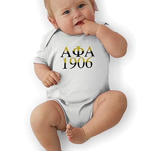 HGJDKQ Alpha Phi Alpha Onesie Baby Short Sleeve Cotton Bodysuit White