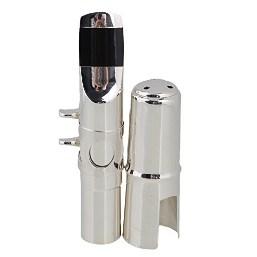 BQLZR #6 Silver 110x15mm nickel-plated Sax Mouthpiece with Cap Ligature for B-flat Tenor Saxophone