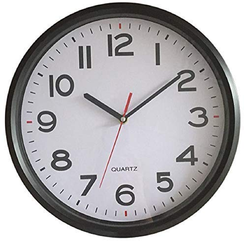 Vmarketingsite - 12 Inch Wall Clock Battery Operated Silent Non-Ticking Decorative Modern Round Quartz Black - Analog Classroom Hanging Clocks Large Numbers - Office/Kitchen/Bedroom/Bathroom/Gym