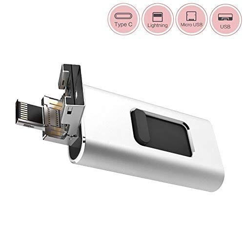 USBメモリ USB 3.0 iPhone/Android/PC/OTG Type-C対応 4in1フラッシュドライブ スマホ 容量不足解消 シルバー