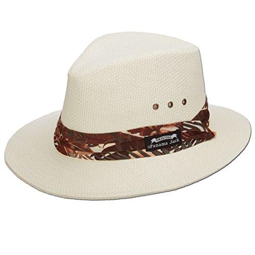 Panama Jack Woven Matte Toyo Safari Hat, UPF 50+ UVA/UVB Sun Protection, 2 1/2
