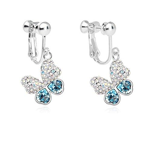 (Latigerf Girl Butterfly Screw Back Clip on Earring Non-Pierced Swarovski Elements Crystal Deep Blue)