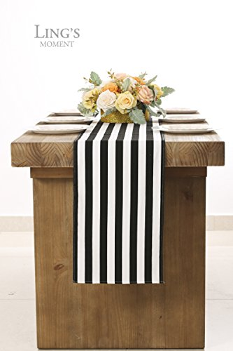 Ling 39 s moment cotton 1 inch wide black and white striped for 85 inch table runner