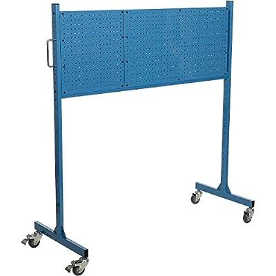 "Mobile Steel Pegboard Panel Rack, Blue, 60""W"