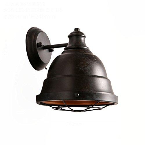 (DYFYMX American Retro Industrial Wall lamp Nostalgia Wrought Iron Wall lamp bar Corridor Balcony led Wall lamp - Home Office Wall Light (Color : Black Patina))