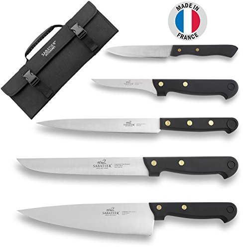 Sabatier Knife Bag 5 Kitchen Knives, Stainless Steel Blades, Black Handles - Cuisine d'Aujourd'hui - Made in France by Sabatier (Image #5)
