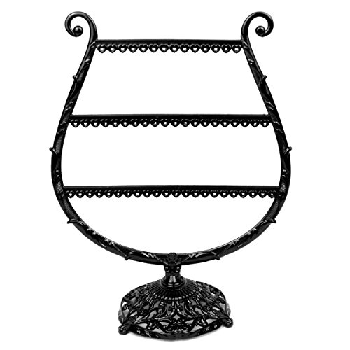 Mangadua Metal 3 Layers Earring Holder Display Cup Shaped Jewelry Organizer Stand Rack Black - Cup Shaped Ring