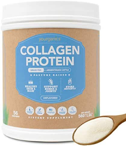 Collagen Protein Powder by Yourganics, Hydrolyzed Bovine Collagen Peptides, Grass-Fed & Pasture Raised, Unflavored (56 Servings)