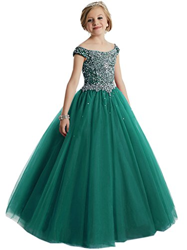 WZY Big Girls Beaded Floor Length Prom Party Gowns Pageant Dresses Custom Made Teal-2 by WZY